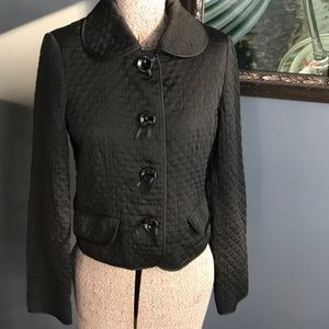 H&M black quilted button short jacket, new, size 4
